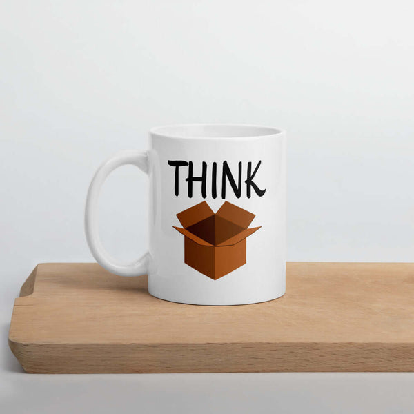 Think outside the box coffee mug