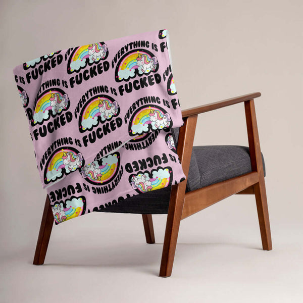 Everything is fucked rainbow unicorn pink Throw Blanket