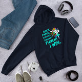 Funny unicorn Unisex Hoodie. Rock paper scissors game. Throat punch I win.