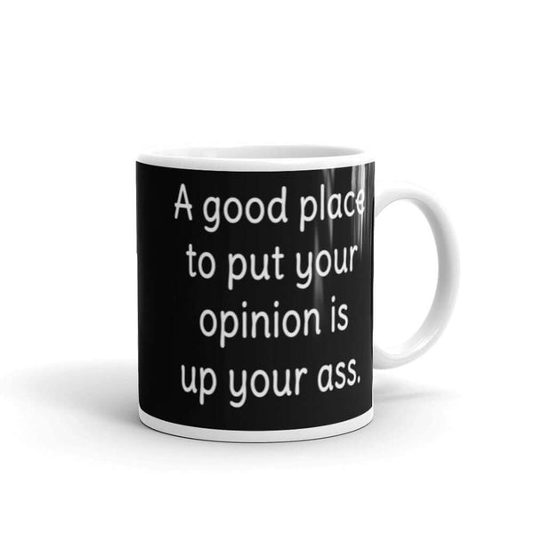 Good place to put your opinion is up your ass sarcastic rude mug