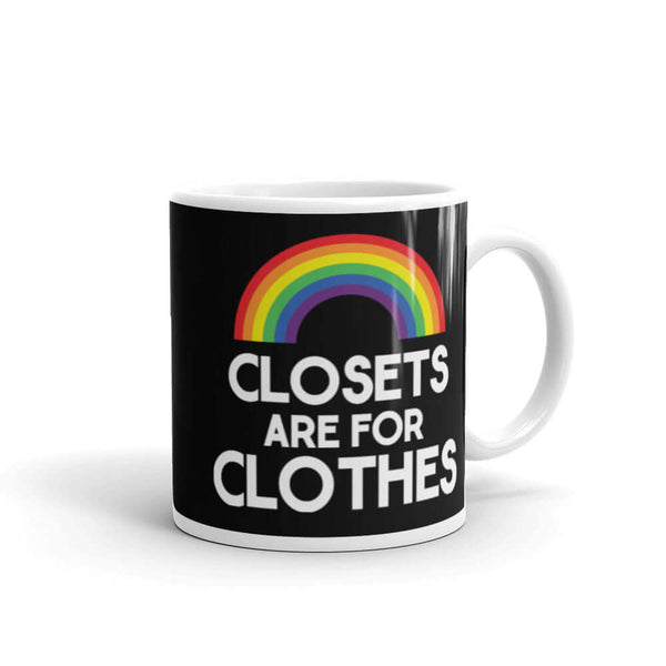 Closets are for clothes LGBTQ coming out rainbow pride mug
