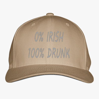 0% Irish 100% Drunk Embroidered Baseball Cap