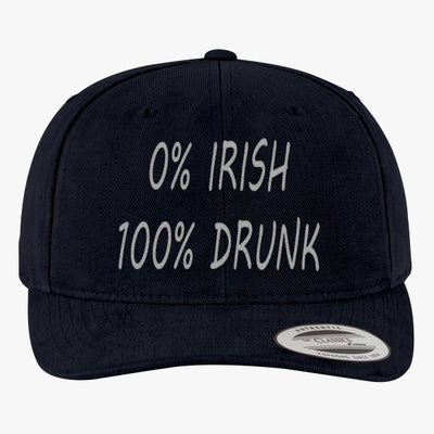 0% Irish 100% Drunk Brushed Embroidered Cotton Twill Hat