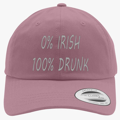 0% Irish 100% Drunk Embroidered Cotton Twill Hat