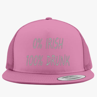 0% Irish 100% Drunk Embroidered Trucker Hat