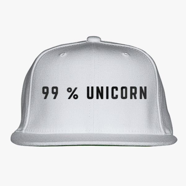 99% Unicorn Embroidered Snapback Hat