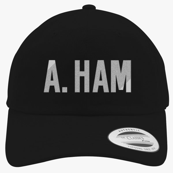 A. Ham Embroidered Cotton Twill Hat