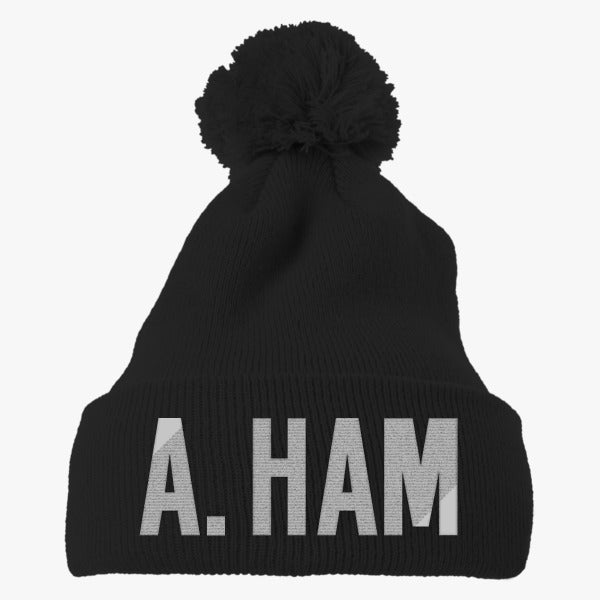 A. Ham Embroidered Knit Pom Cap