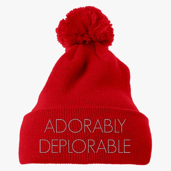 Adorably Deplorable Embroidered Knit Pom Cap
