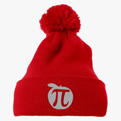 Apple Pi Mathematics  Embroidered Knit Pom Cap
