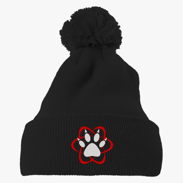 Atomic Paw Embroidered Knit Pom Cap