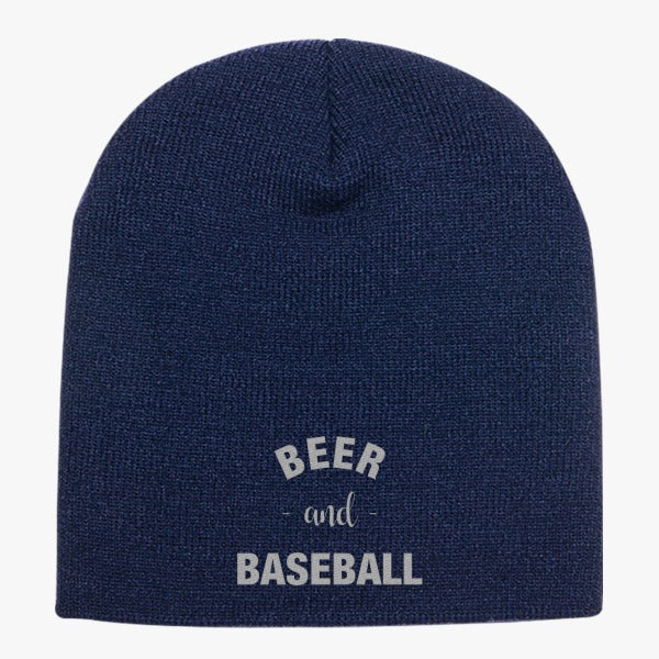 Baseball And Beer Knit Beanie