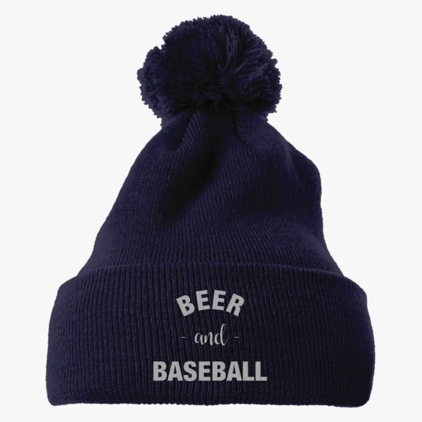 Baseball And Beer Embroidered Knit Pom Cap