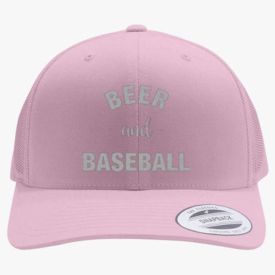 Baseball And Beer Embroidered Retro Embroidered Trucker Hat
