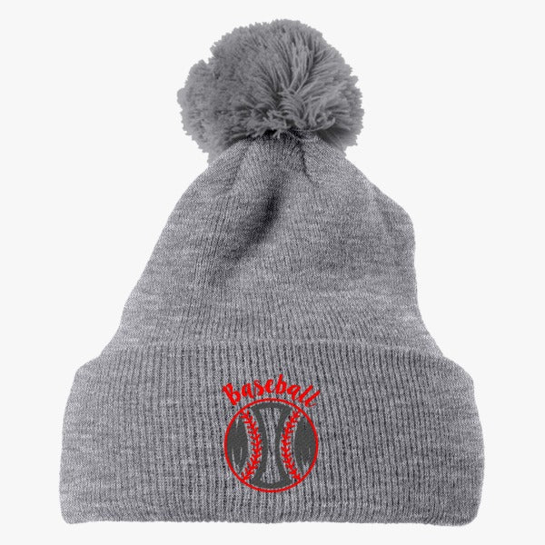 Baseball Mom Embroidered Knit Pom Cap