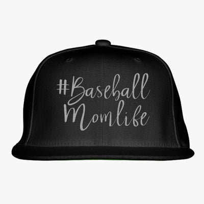 #baseball Mom Life Embroidered Snapback Hat