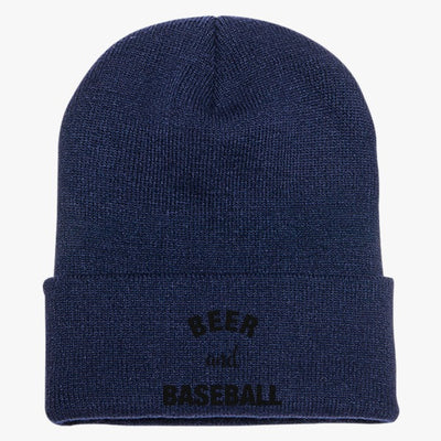 Beer And Baseball Knit Cap