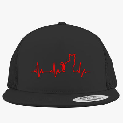 Heart Beats Cat Embroidered Trucker Hat