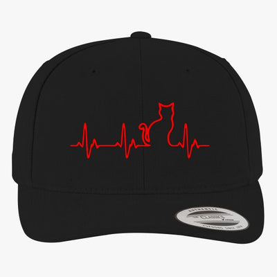 Heart Beats Cat Brushed Embroidered Cotton Twill Hat