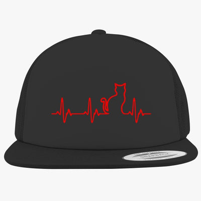 Heart Beats Cat Foam Trucker Hat