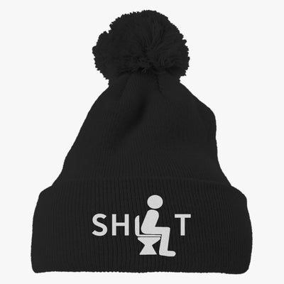 Shit Embroidered Knit Pom Cap