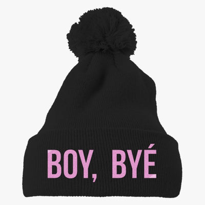 Boy Bye Embroidered Knit Pom Cap