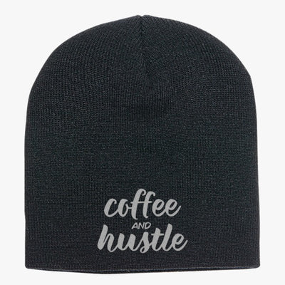 Coffee And Hustle, Mom, Boss Babe, Boss Babe, Coffee, Funny Coffee, Motivational, Mom, Coffee Knit Beanie