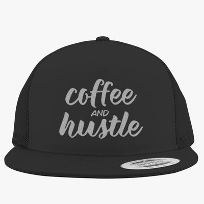 Coffee And Hustle, Mom, Boss Babe, Boss Babe, Coffee, Funny Coffee, Motivational, Mom, Coffee Embroidered Trucker Hat