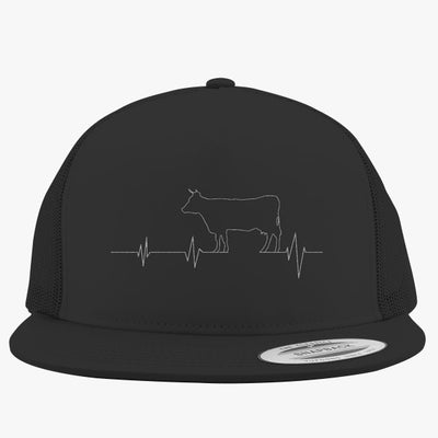Cow Heartbeat Embroidered Trucker Hat