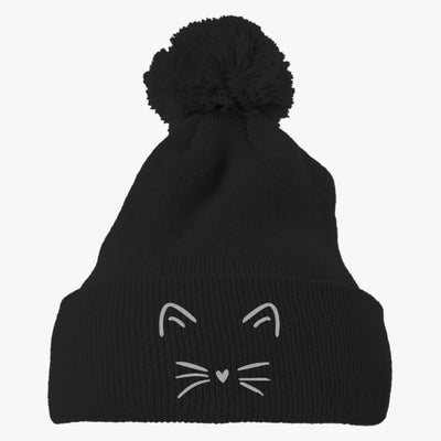 Cute Cat Embroidered Knit Pom Cap