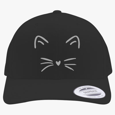Cute Cat Embroidered Retro Embroidered Trucker Hat