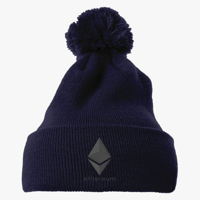 Ethereum Coin Embroidered Knit Pom Cap