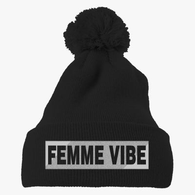 Femme Vibe  Embroidered Knit Pom Cap