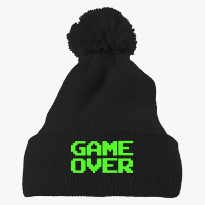 Gameover Embroidered Knit Pom Cap