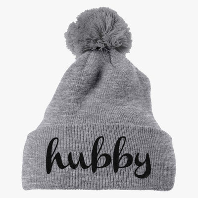 Hubby Embroidered Knit Pom Cap