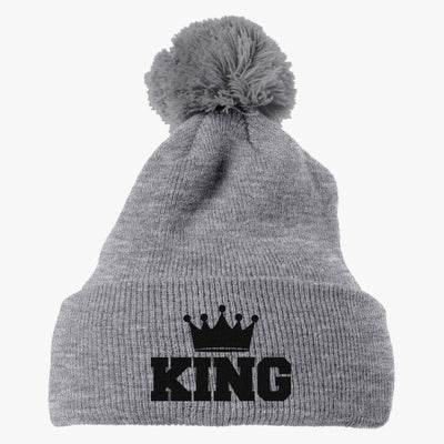 King Embroidered Knit Pom Cap