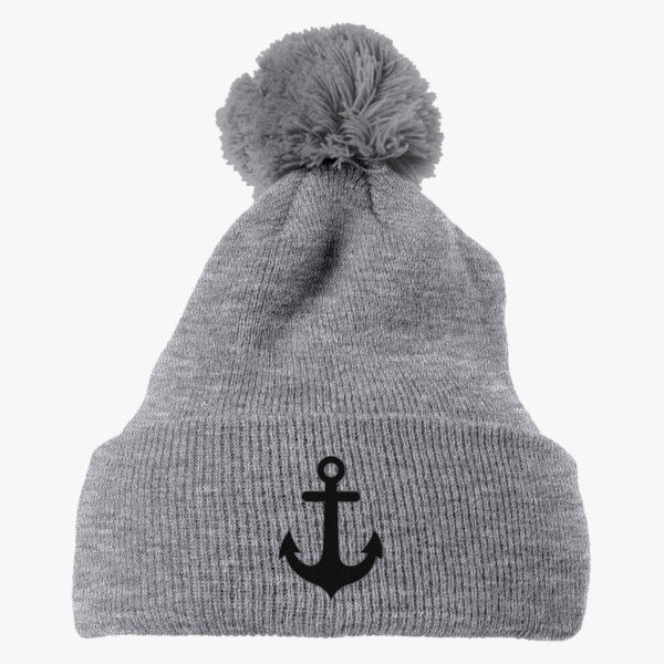 Anchor Embroidered Knit Pom Cap