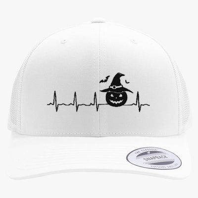 Halloween Heartbeat  Embroidered Retro Embroidered Trucker Hat