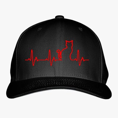 Heart Beats Cat Embroidered Baseball Cap