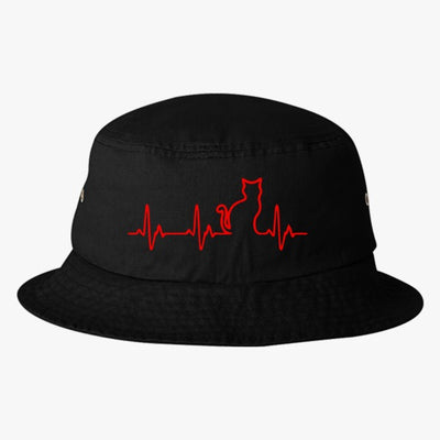 Heart Beats Cat Bucket Hat