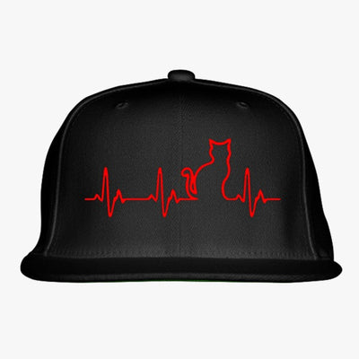 Heart Beats Cat Embroidered Snapback Hat