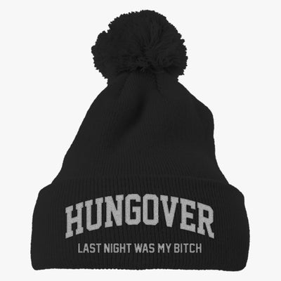 Hungover Embroidered Knit Pom Cap