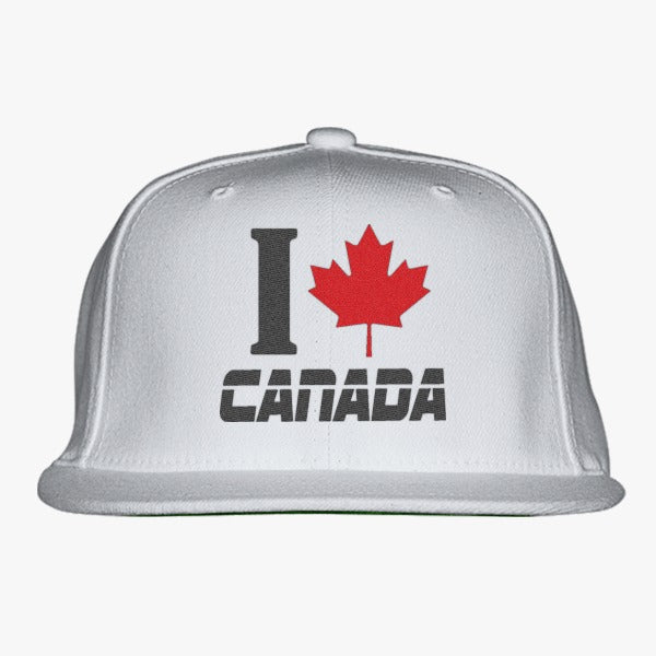 I LOVE CANADA Embroidered Snapback Hat