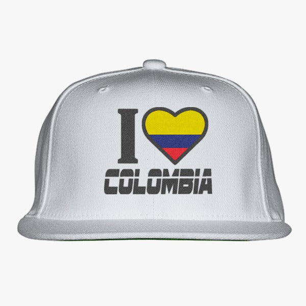I LOVE COLOMBIA Embroidered Snapback Hat