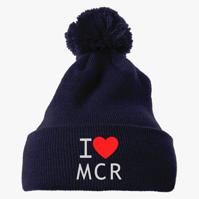 I Love Manchester Embroidered Knit Pom Cap