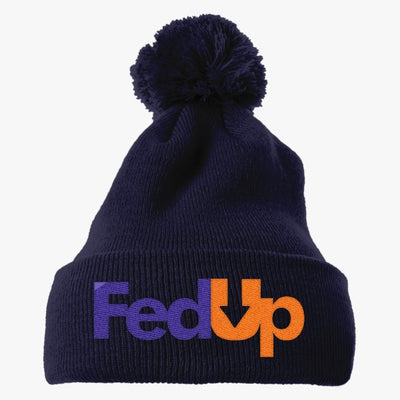 Im Fed Up Embroidered Knit Pom Cap