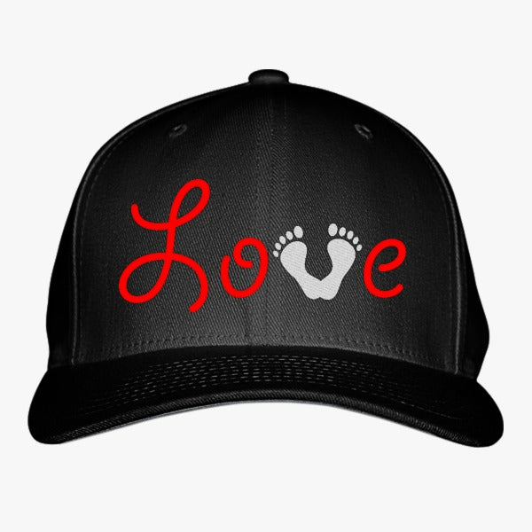 Love Baby Foot Print Embroidered Baseball Cap