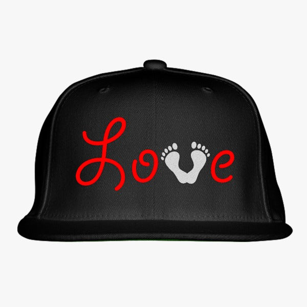 Love Baby Foot Print Embroidered Snapback Hat
