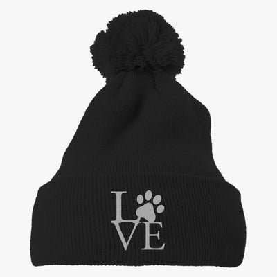 Love Paw Embroidered Knit Pom Cap