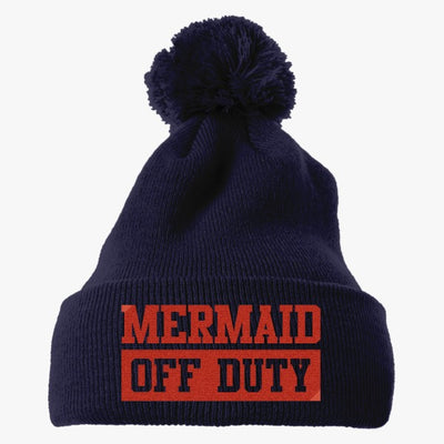 Mermaid Off Duty Embroidered Knit Pom Cap